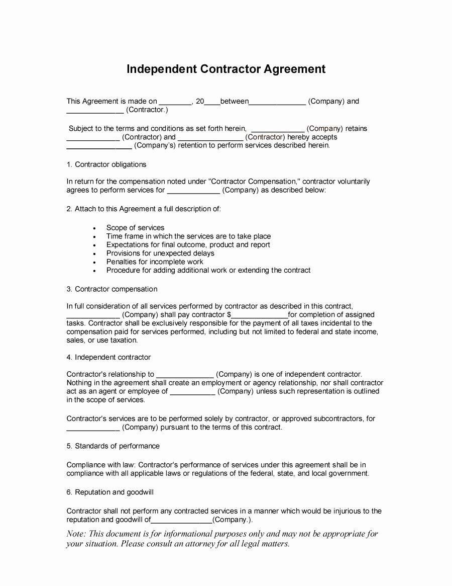 Simple Independent Contractor Agreement Template Unique 50 Free Independent Contractor Agreement forms & Templates