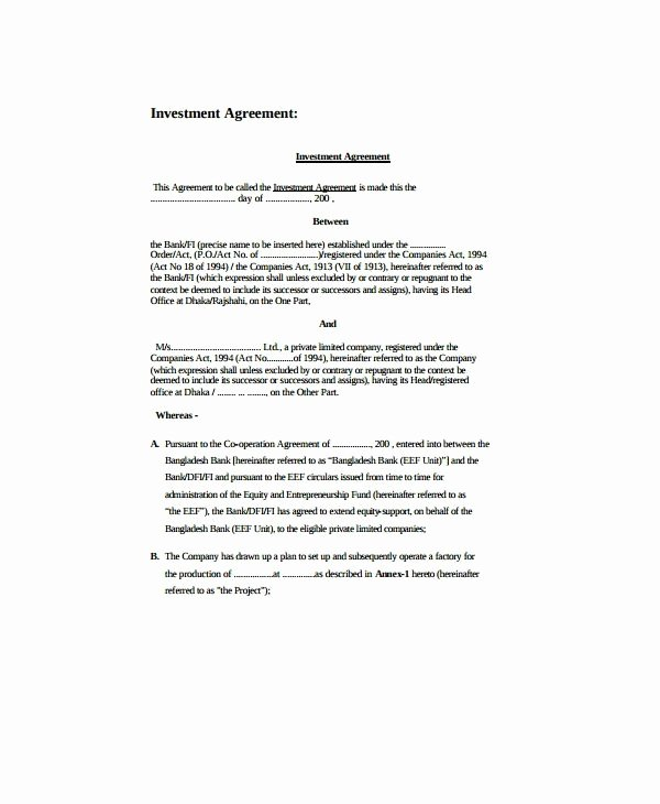 Simple Investment Contract Template Best Of 6 Personal Investment Agreement Templates Pdf Doc