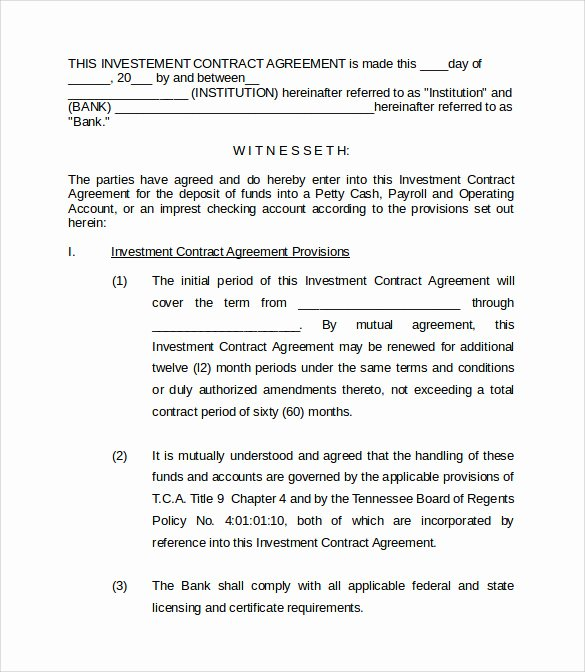 Simple Investment Contract Template Elegant Investment Contract Template 18 Download Documents In