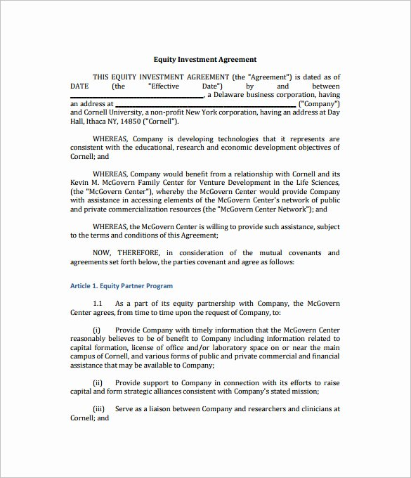 Simple Investment Contract Template Inspirational Investment Agreement Template