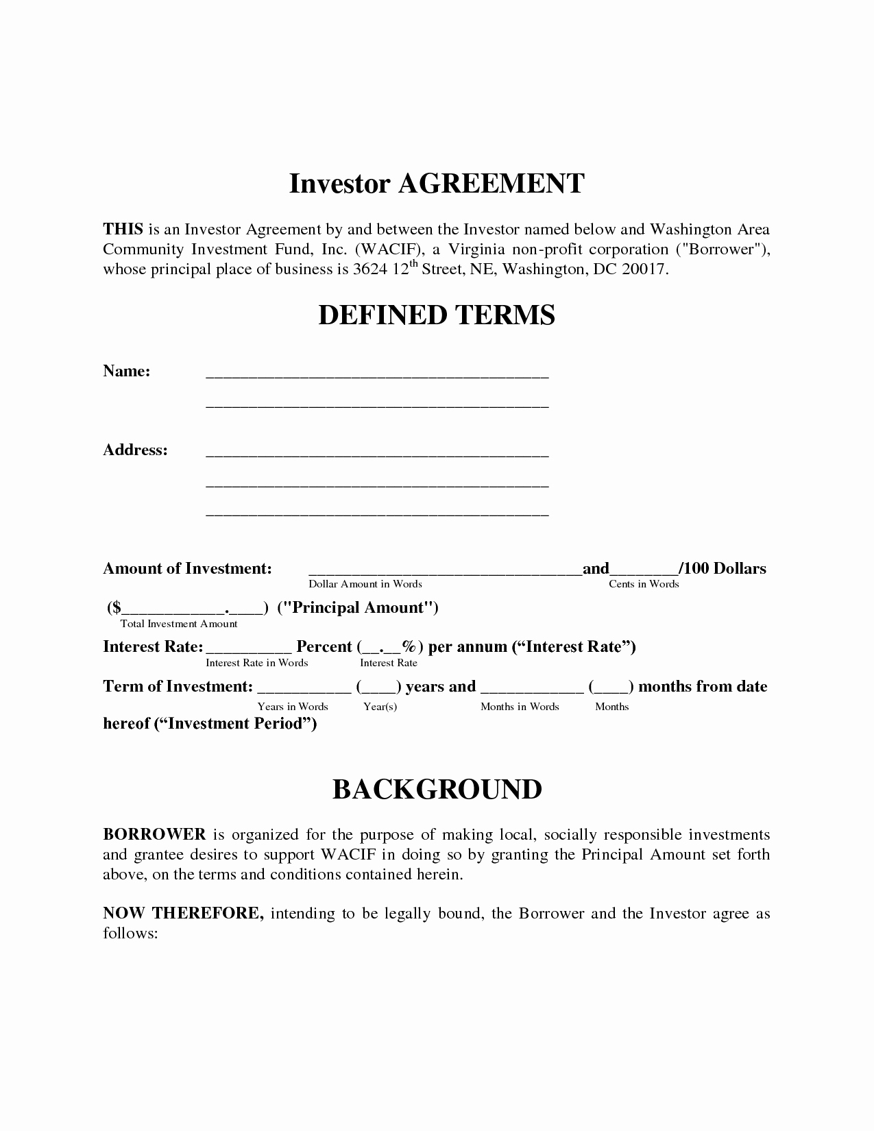 Simple Investment Contract Template Luxury Simple Investment Contract Template Free Printable Documents