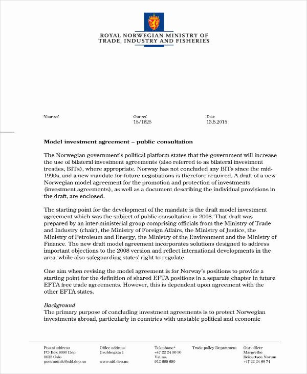 Simple Investment Contract Template New 19 Simple Investment Agreement Templates Word Pdf