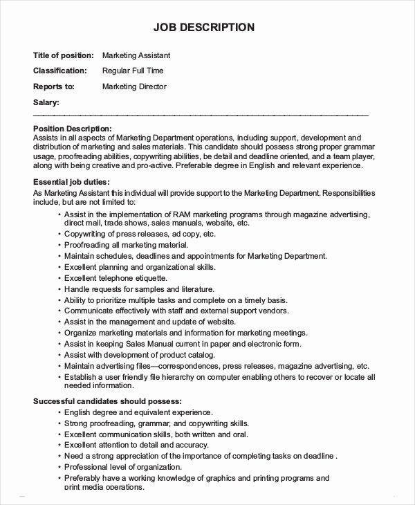 Simple Job Description Template Best Of 12 Marketing assistant Job Description Templates Pdf
