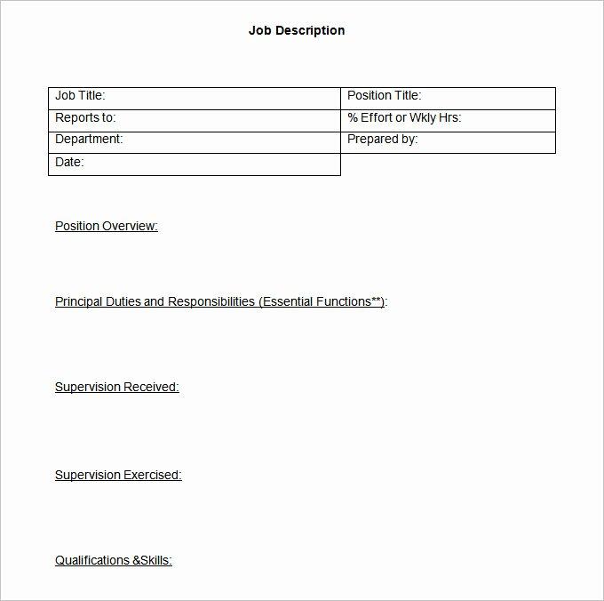 Simple Job Description Template Best Of 55 Hr Job Description Templates Hr Templates