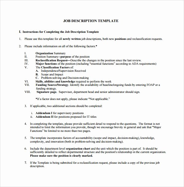 Simple Job Description Template Elegant Sample Job Description Template 9 Free Documents