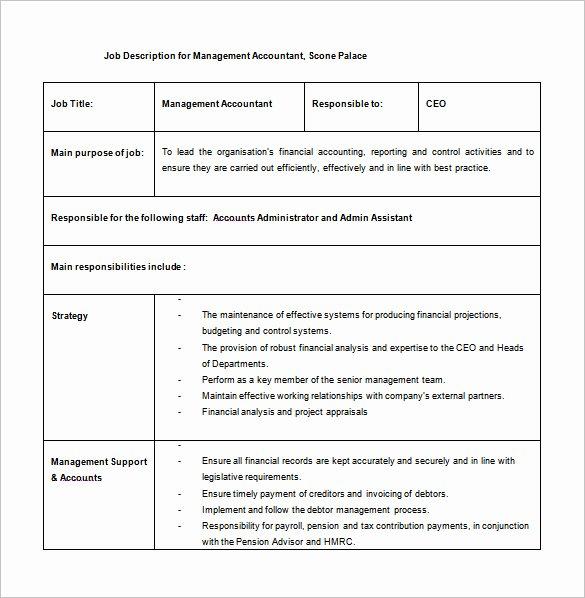 Simple Job Description Template Fresh 12 Accountant Job Description Templates Free Sample