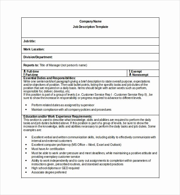 Simple Job Description Template Fresh Sample Job Description Template 9 Free Documents