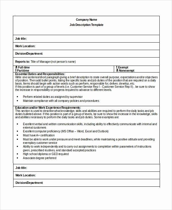 Simple Job Description Template Lovely Sample Job Description Template 32 Free Documents