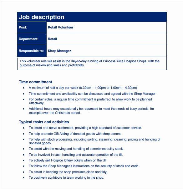 Simple Job Description Template Luxury Customer Service Job Description Templates 15 Free