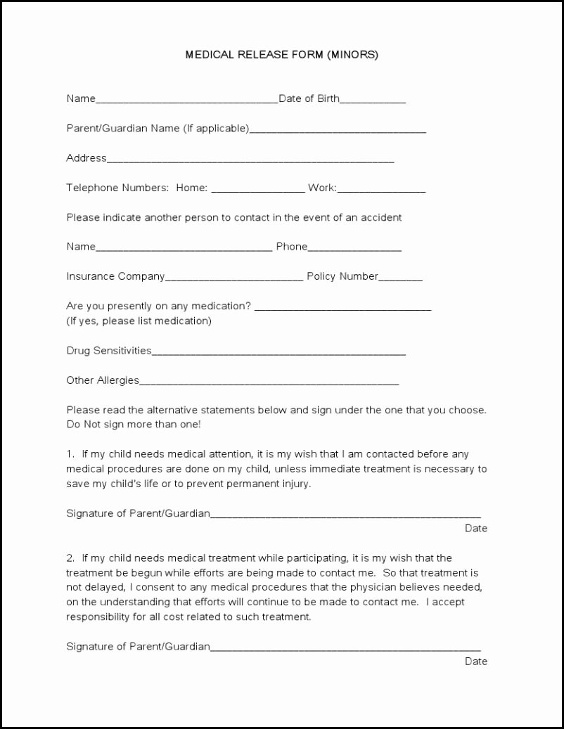 Simple Medical Release form Template Beautiful Medical forms Tru Dimensions Printing