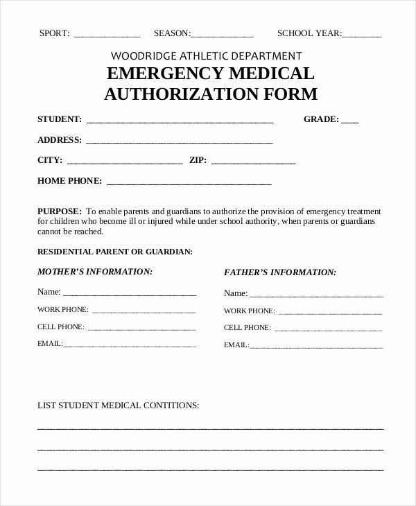 Simple Medical Release form Template Lovely 10 Printable Medical Authorization forms Pdf Doc