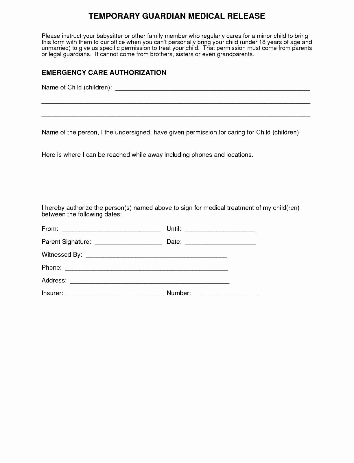 Simple Medical Release form Template Luxury 5 Parental Release form Template Euuiq