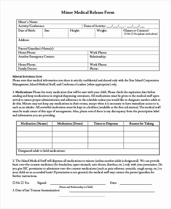 Simple Medical Release form Template Luxury Free 31 Medical Release forms