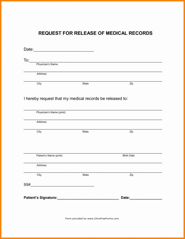 Simple Medical Release form Template New Blank Medical Records Release form