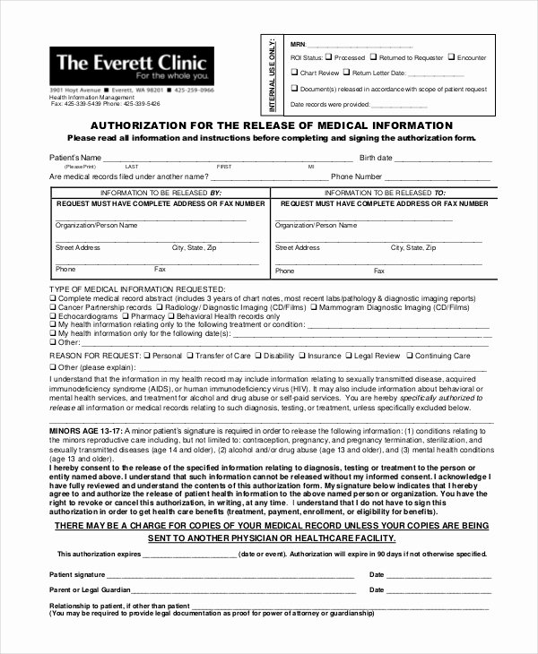 Simple Medical Release form Template Unique 10 Medical Release forms Free Sample Example format