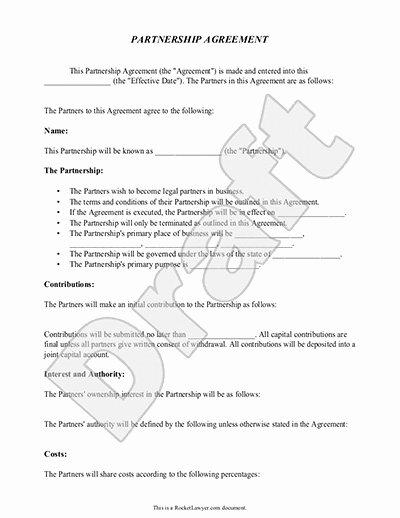 Simple Partnership Agreement Template Free Awesome Partnership Agreement