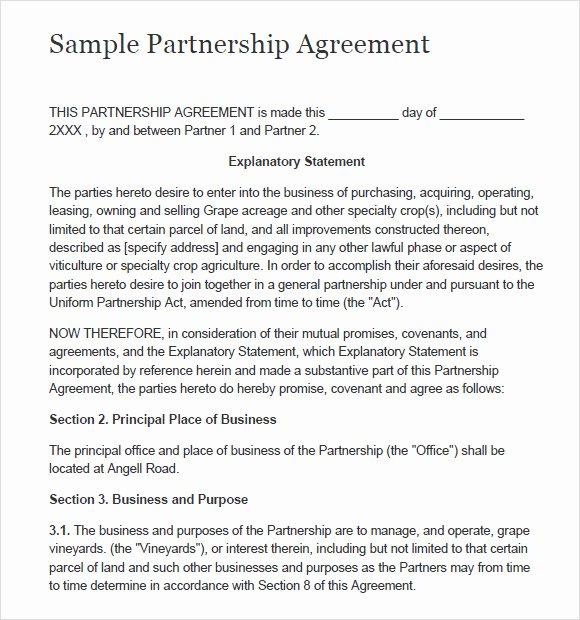 Simple Partnership Agreement Template Free Awesome Sample Partnership Agreement 15 Documents In Pdf Word