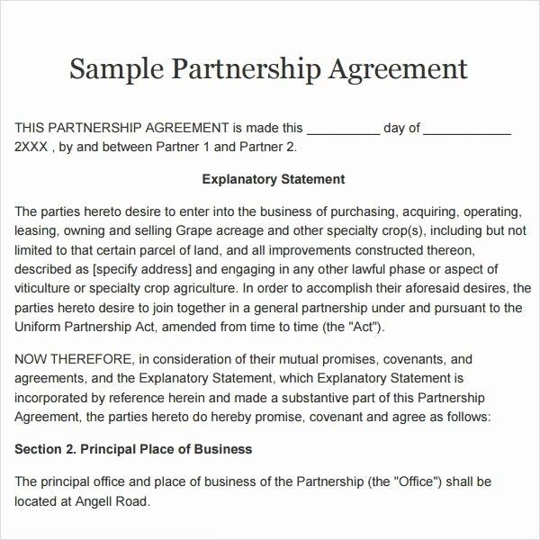 Simple Partnership Agreement Template Free Awesome Simple Partnership Agreement Template Free Uk Apfilecloud