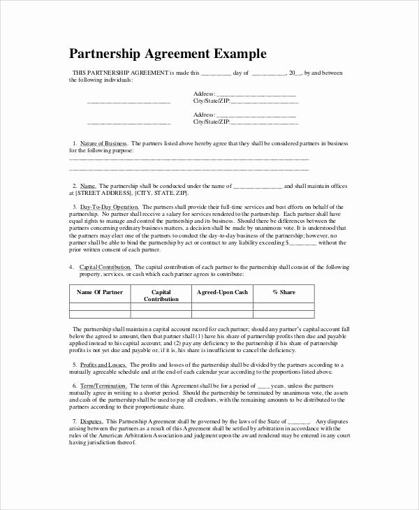 Simple Partnership Agreement Template Free Best Of Simple Business Partnership Agreement 7 Examples In