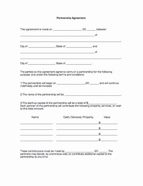 Simple Partnership Agreement Template Free Elegant Printable Sample Partnership Agreement form