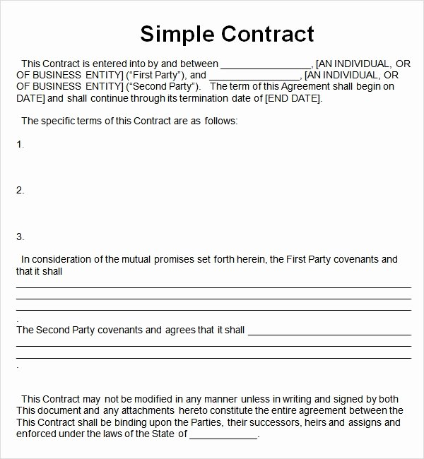 Simple Partnership Agreement Template Free Elegant Simple Contract Template 7 Free Pdf Doc Download