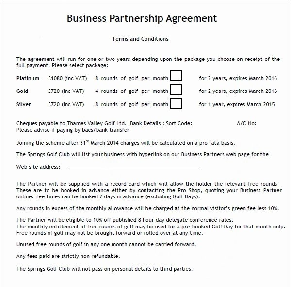 Simple Partnership Agreement Template Free Fresh Business Partnership Contract Template Free – Employee