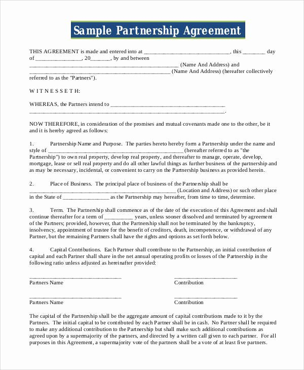 Simple Partnership Agreement Template Free Luxury Free 48 Contract Agreement Templates In Pages