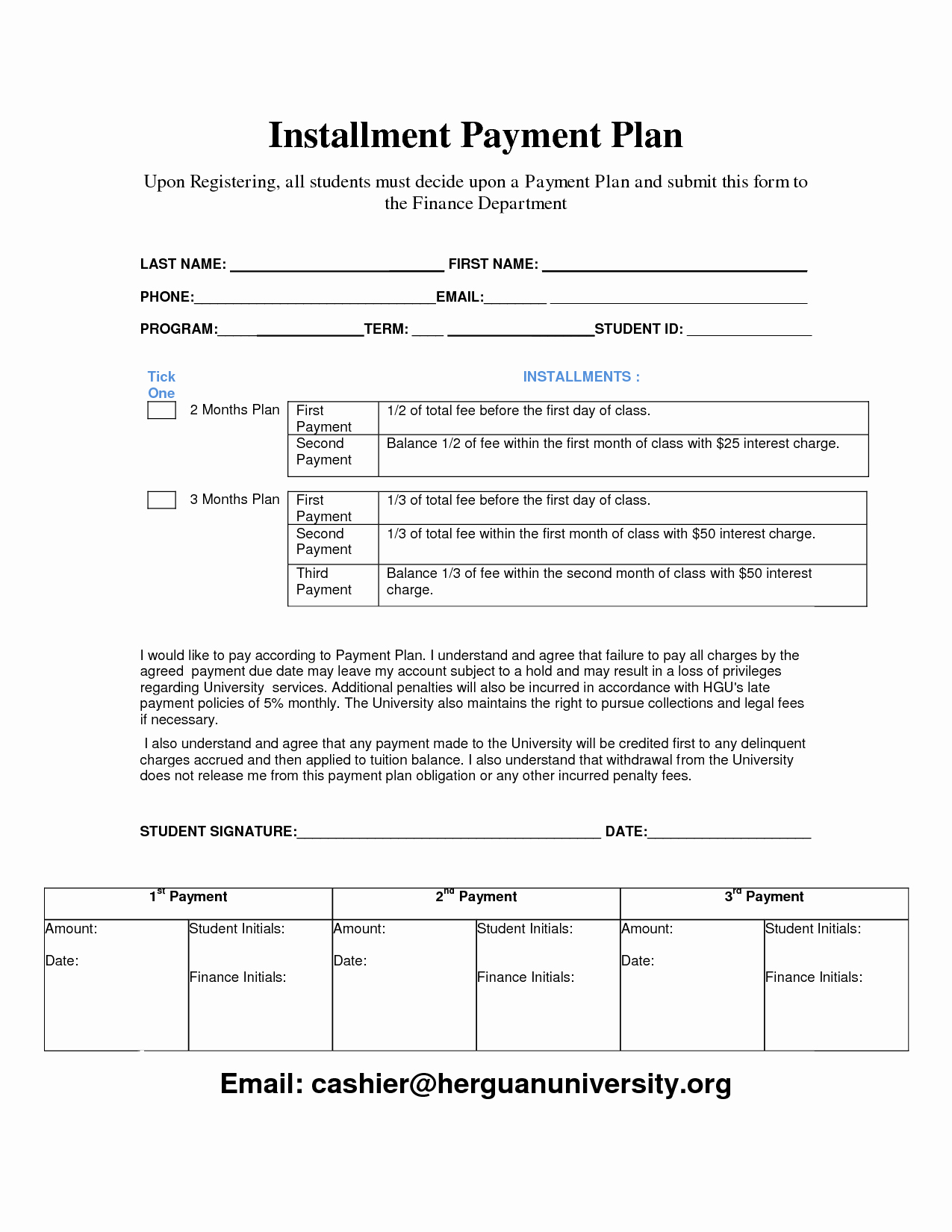 Simple Payment Plan Agreement Template Unique Payment Plan Template