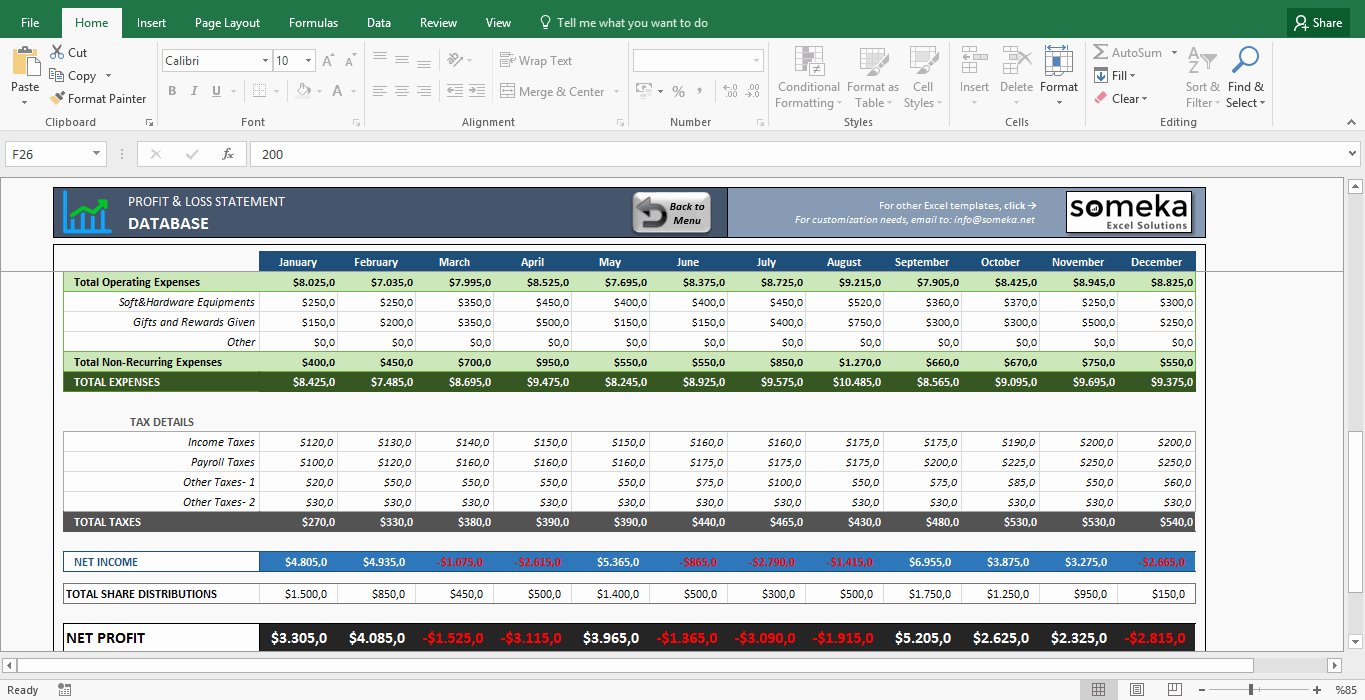 Simple Profit and Loss Template Awesome Simple Profit and Loss Statement Excel