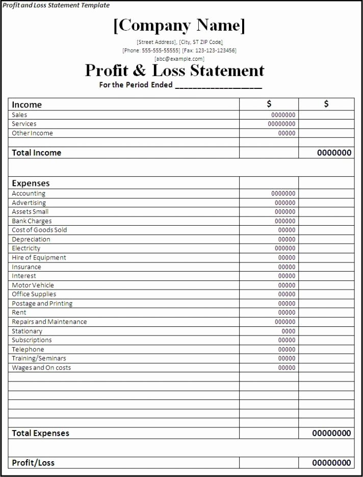 Simple Profit and Loss Template Inspirational Simple Profit and Loss Statement