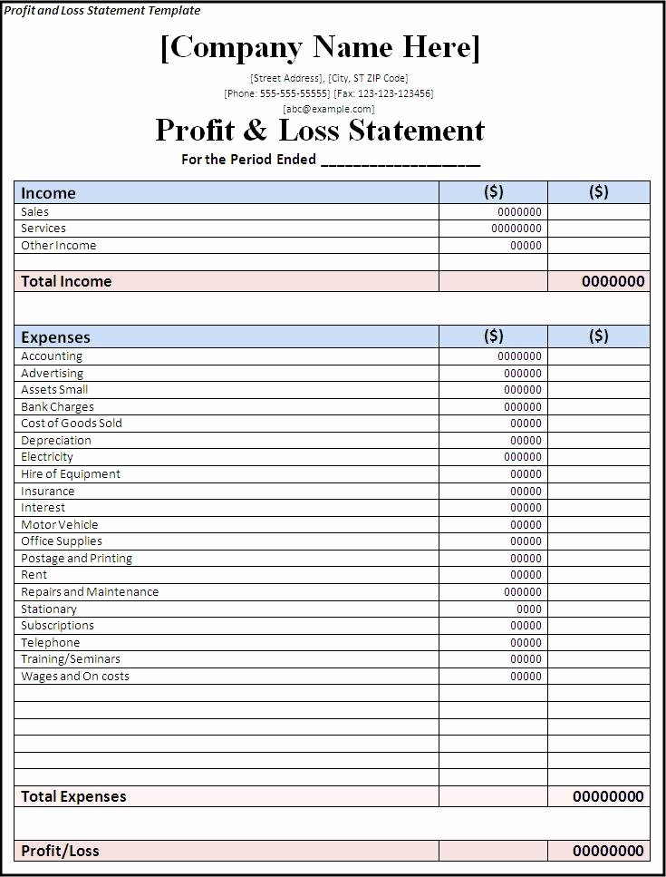 Simple Profit and Loss Template New Simple Profit and Loss Statement Template Excel