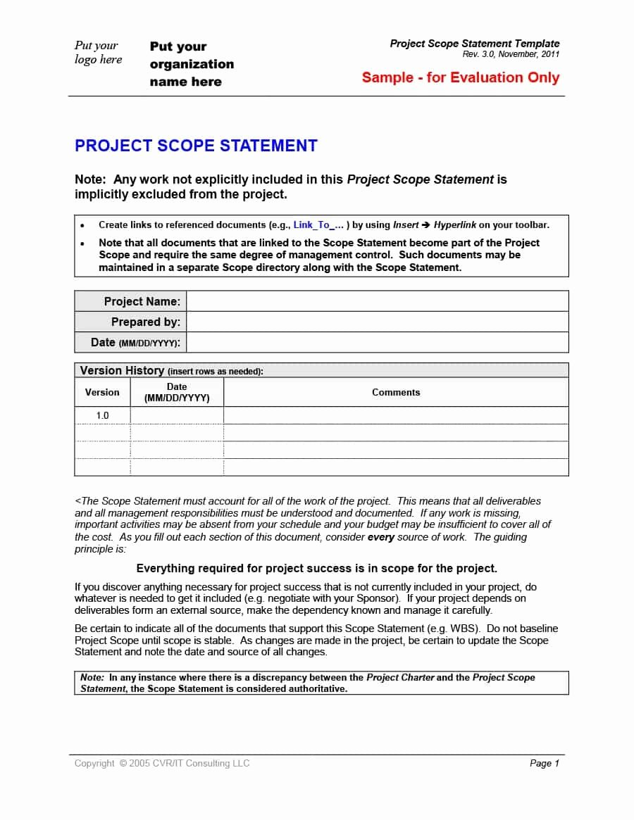 Simple Project Scope Template Fresh 43 Project Scope Statement Templates & Examples Template Lab