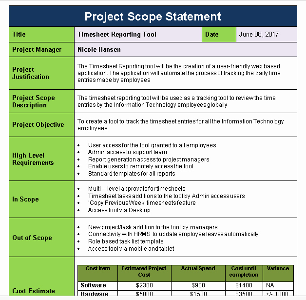 Simple Project Scope Template Fresh Project Scope Statement Template Download now Free