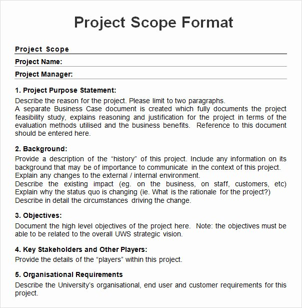 Simple Project Scope Template Unique Project Scope Example Pdf