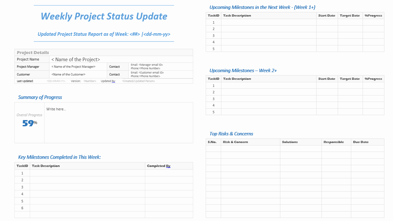 Simple Project Status Report Template Best Of Weekly Project Status Update Template Analysistabs