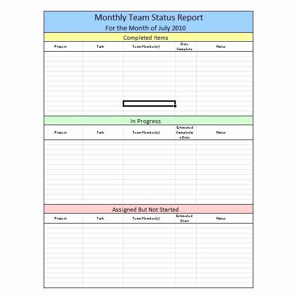 Simple Project Status Report Template Elegant Sample Team Monthly Report Template In Excel Free