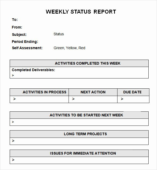 Simple Project Status Report Template New Simple and Easy to Use Weekly Status Report Template for