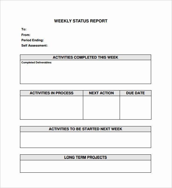 Simple Project Status Report Template Unique Free 16 Sample Weekly Status Report Templates In Pdf