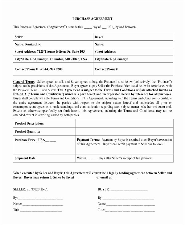 Simple Purchase Agreement Template Unique 47 Basic Agreement forms Word Pdf