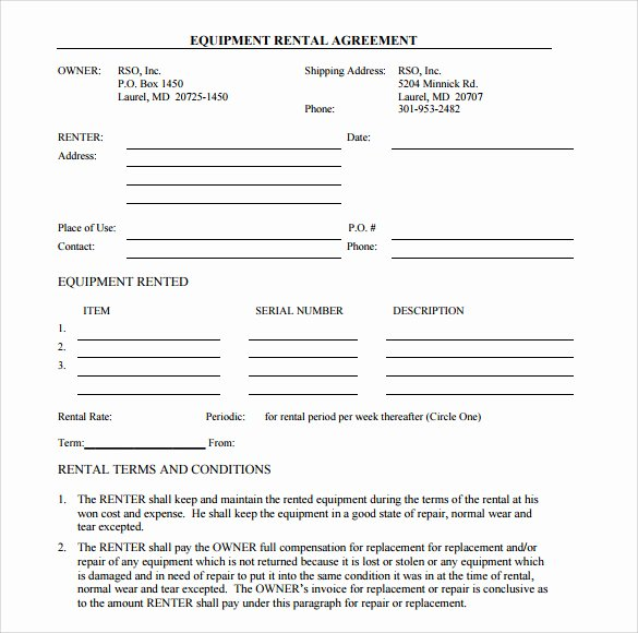 Simple Rental Agreement Template Awesome Sample Equipment Rental Agreement Template 15 Free