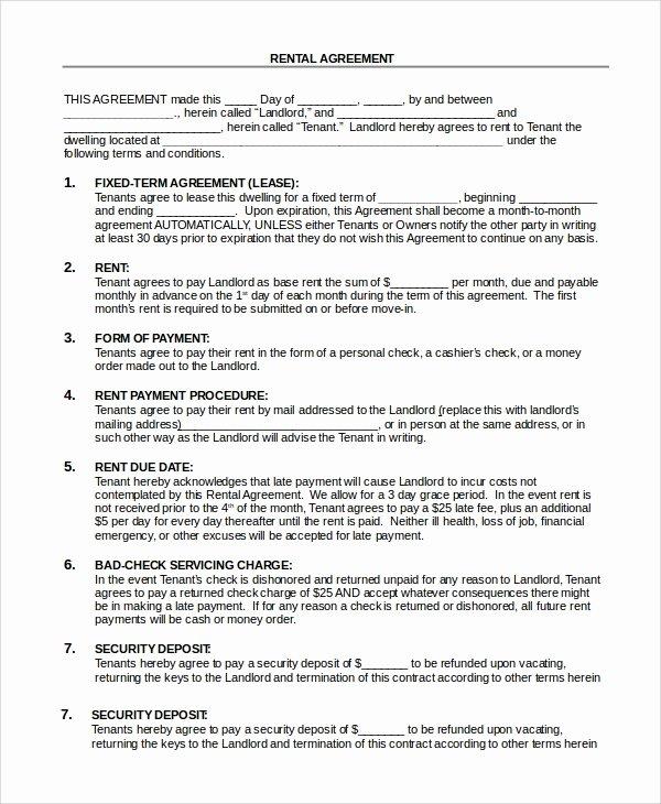 Simple Rental Agreement Template Elegant Sample Basic Rental Agreement 8 Examples In Pdf Word