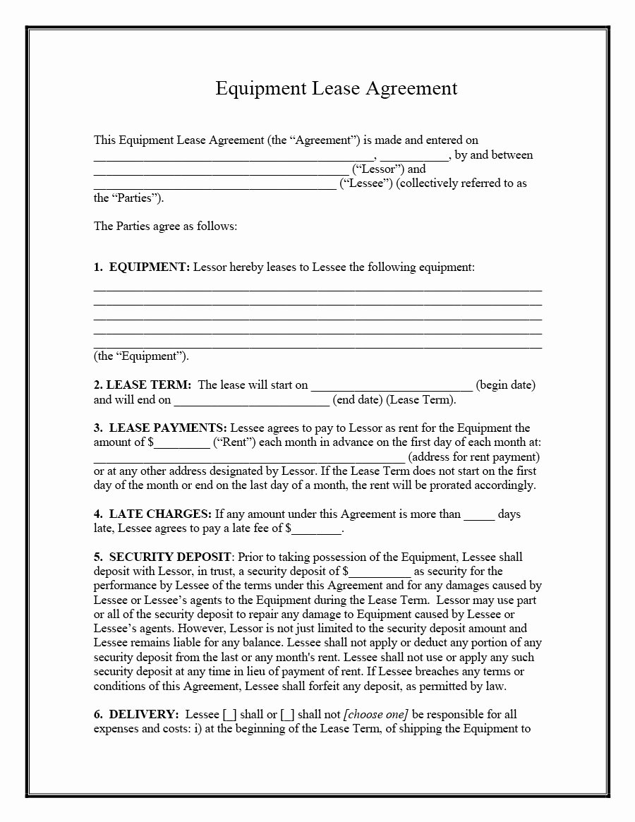 Simple Rental Agreement Template Fresh 44 Simple Equipment Lease Agreement Templates Template Lab