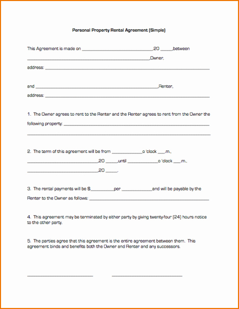 Simple Rental Agreement Template Lovely Simple Lease Agreement