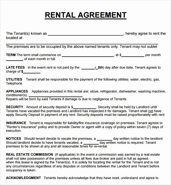 Simple Rental Agreement Template Luxury Download Free Basic Rental Agreement Template