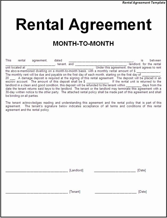 Simple Rental Agreement Template New Printable Sample Simple Room Rental Agreement form