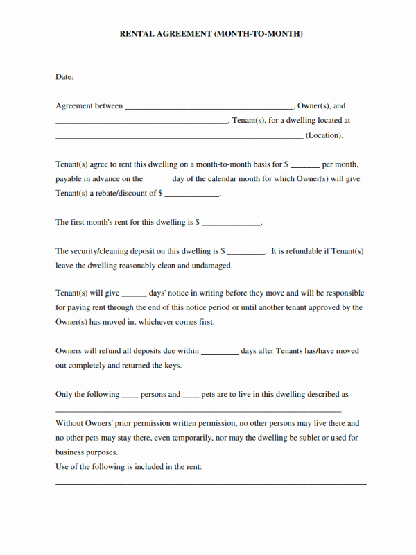 Simple Rental Agreement Template Unique Simple Rental Agreement Month to Month Template as Useful