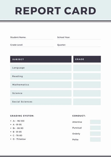 Simple Report Card Template Awesome Gray Simple Homeschool Report Card Templates by Canva