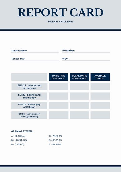 Simple Report Card Template Elegant Customize 134 College Report Card Templates Online Canva
