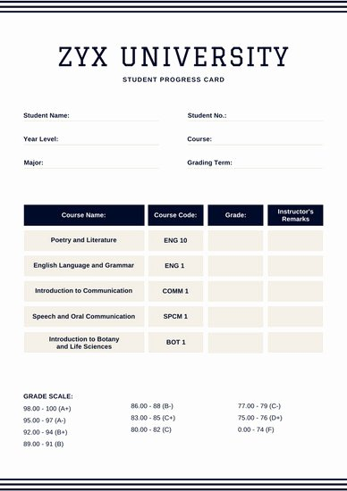 Simple Report Card Template Fresh Blue College Report Card Templates by Canva