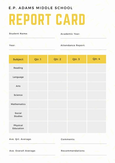 Simple Report Card Template Inspirational White and Yellow Simple Sprinkled Middle School Report